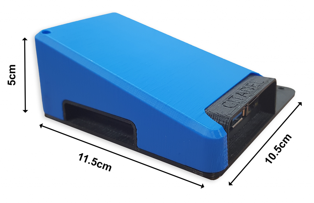 Citadel Connect device with dimensions showing the size of the device.