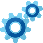 Blue gearwheels to show fully managed by Citadel Technology for the Citadel Connect.
